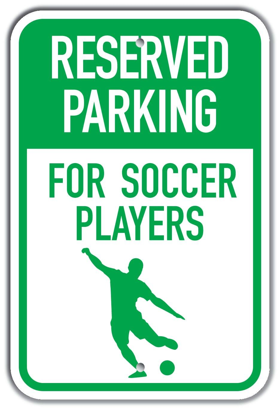 Silhouette Soccer Player G//W Plastic Sign 12 x 18 PetKa Signs and Graphics PKRP-0044-NP/_Reserved Parking for Soccer Players