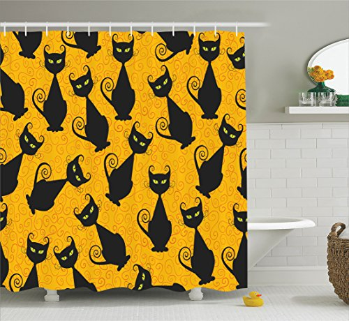 [Vintage Decor Shower Curtain Set By Ambesonne, Black Cat Pattern For Halloween On Orange Background Celebration Gift Graphic Patterns, Bathroom Accessories, 69W X 70L Inches, Black] (Halloween Backgrounds Free)
