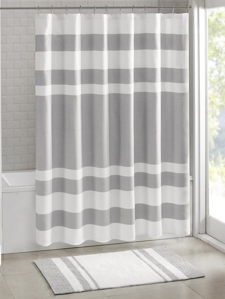 curtains shower wide weave white stripe curtain waffle duty heavy