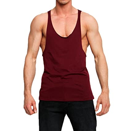 f971960e217 The Blazze Men's Stringer Y Back Bodybuilding Gym Tank Tops (Maroon)