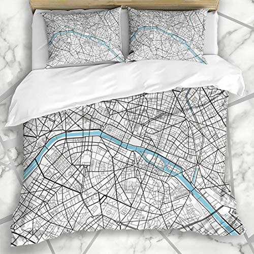 Ahawoso Duvet Cover Sets Queen/Full 90x90 Vintage Black White City Map Paris Artistic Abstract Arc Triomphe Cartography Drawing Design Line Microfiber Bedding with 2 Pillow Shams