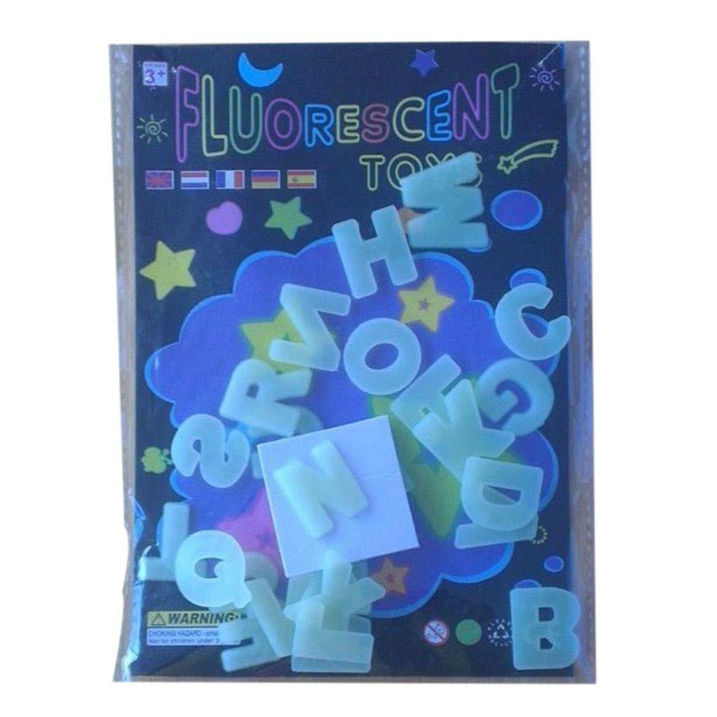 Jinzuke DIY 26 English Lettres Phosphorescent Alphabets Lumineux Wall Sticker Enfant /éducatif