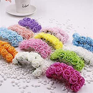 Foam Roses 144pcs Artificial Multi Color Fake Flower DIY Wedding Home Party Decoration & Wedding Car Corsage Decoration 5