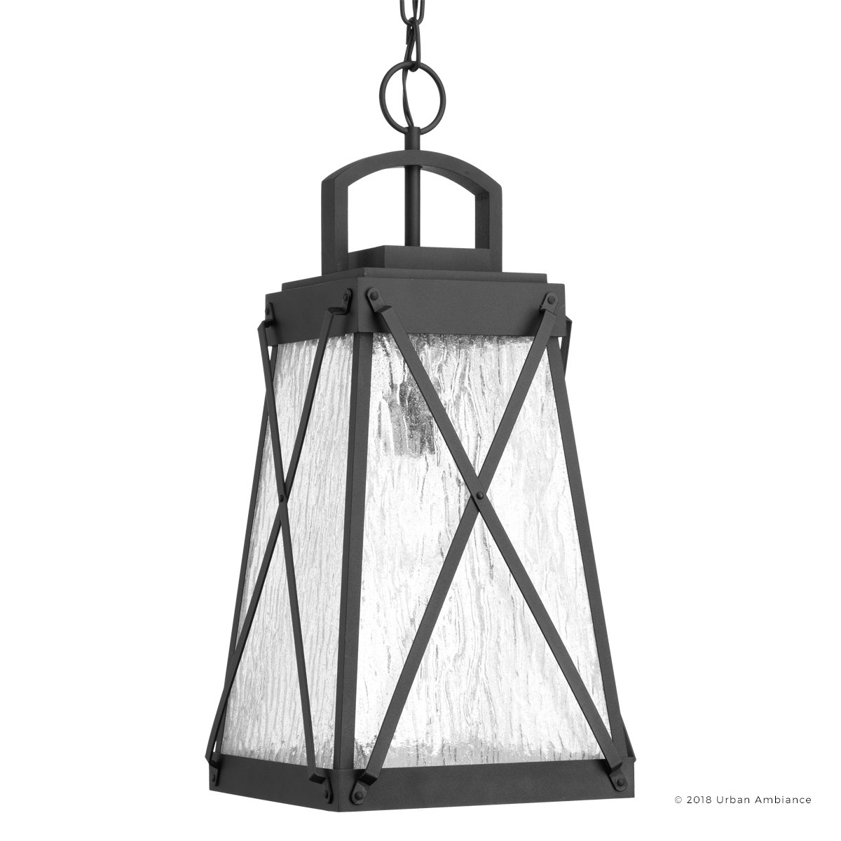 Luxury English Tudor Outdoor Pendant Light, Large Size: 21.625''H x 10.5''W, with Rustic Style Elements, Midnight Black Finish, UHP1059 from The Saint Paul Collection by Urban Ambiance