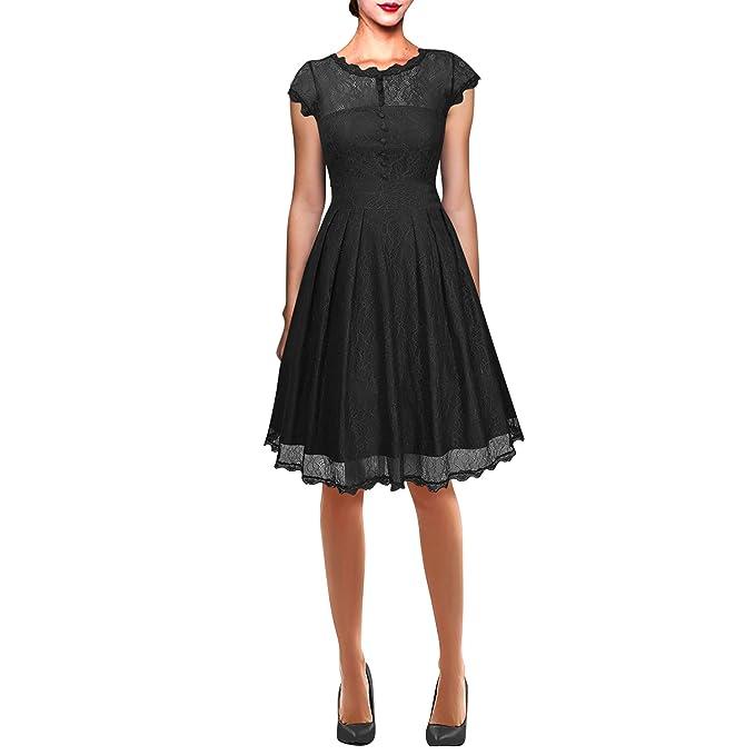 Dolamen Mujer Cordón Vestidos, Collar redondo Vintage y estilo retro, A-Line Swing Rodilla-largo, Vestido corto del cordón de la manga, perfecto para el ...