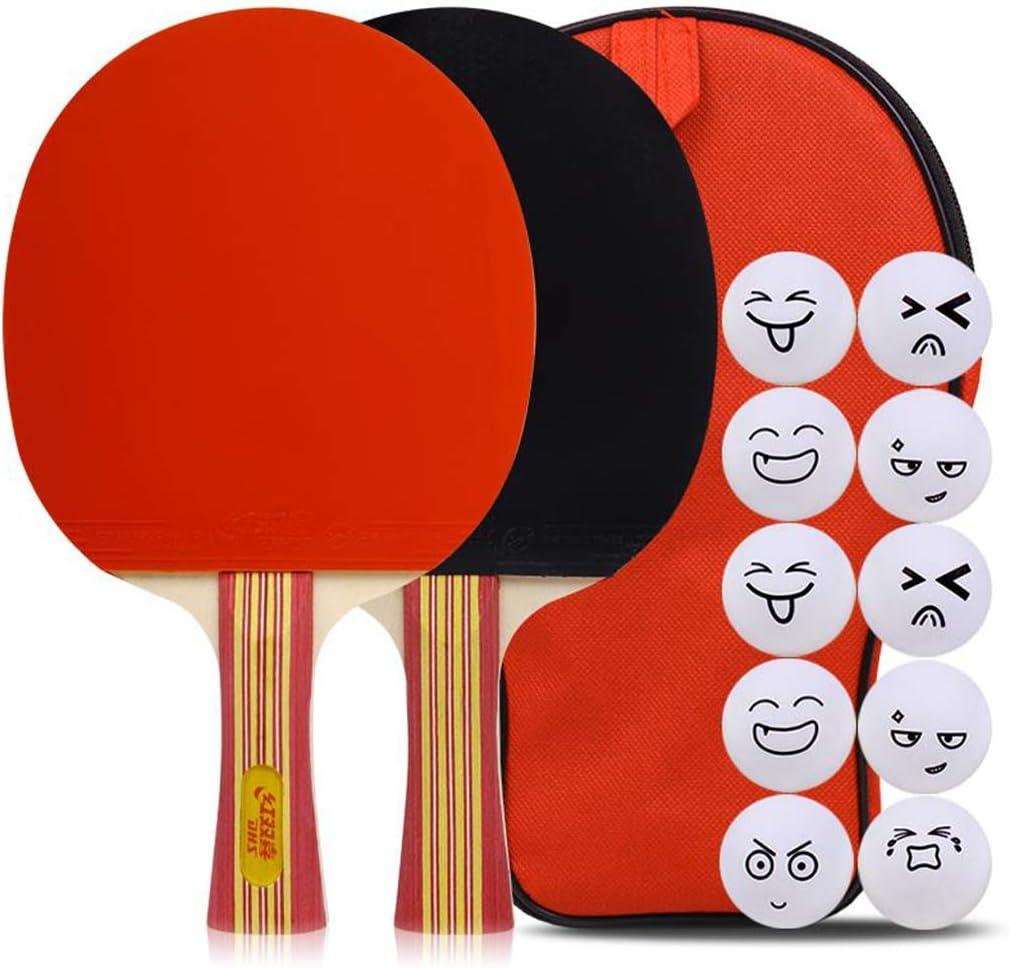 JWD HOME 5 Estrella Paleta De Ping Pong Juego De 2 Raquetas De Tenis De Mesa, Apto para Jugadores Intermedios