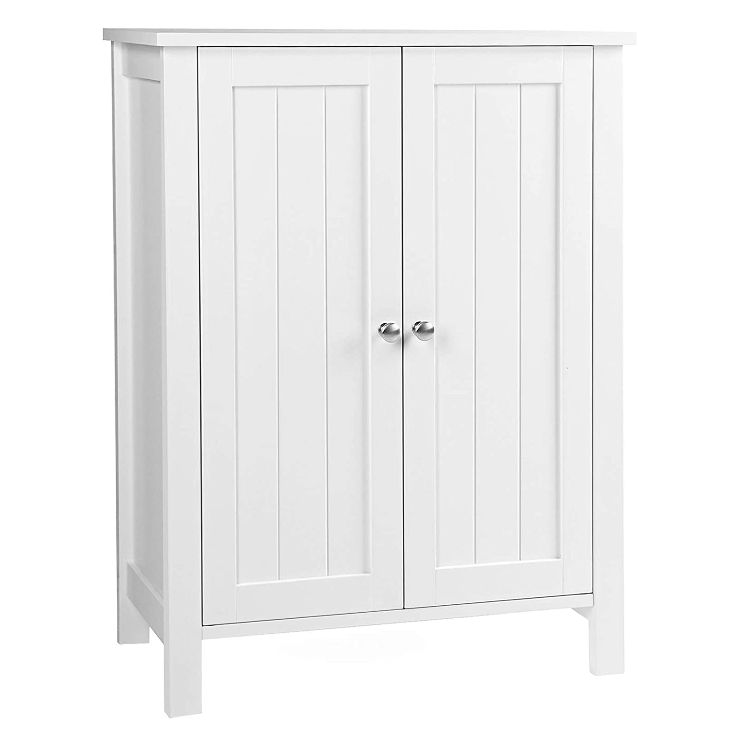 "VASAGLE UBCB60W Bathroom Floor Storage Cabinet with Double Door Adjustable Shelf, 23.6""L x 11.8""W x 31.5""H White"