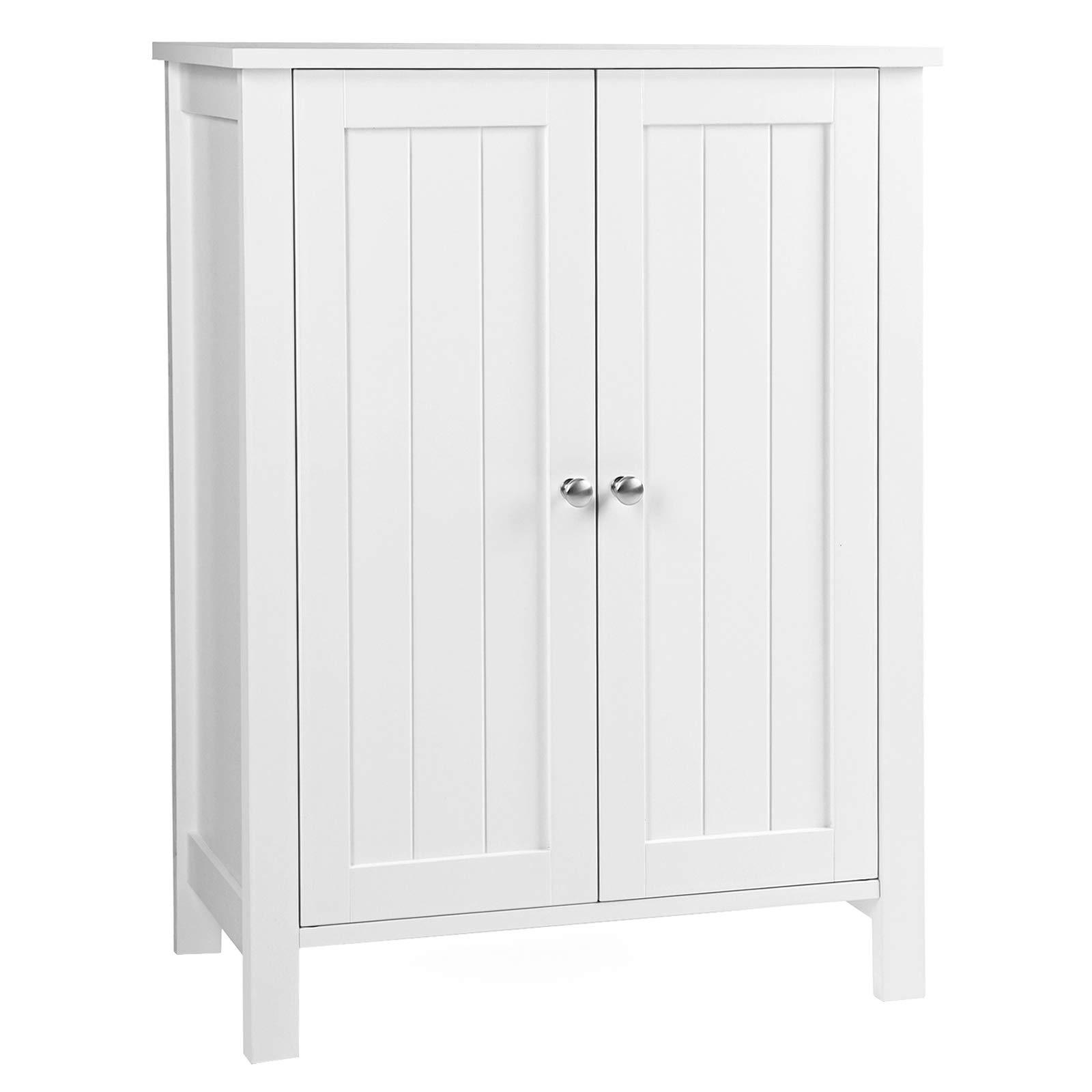 "VASAGLE UBCB60W Bathroom Floor Storage Cabinet with Double Door Adjustable Shelf, 23.6""L x 11.8""W x 31.5""H White"
