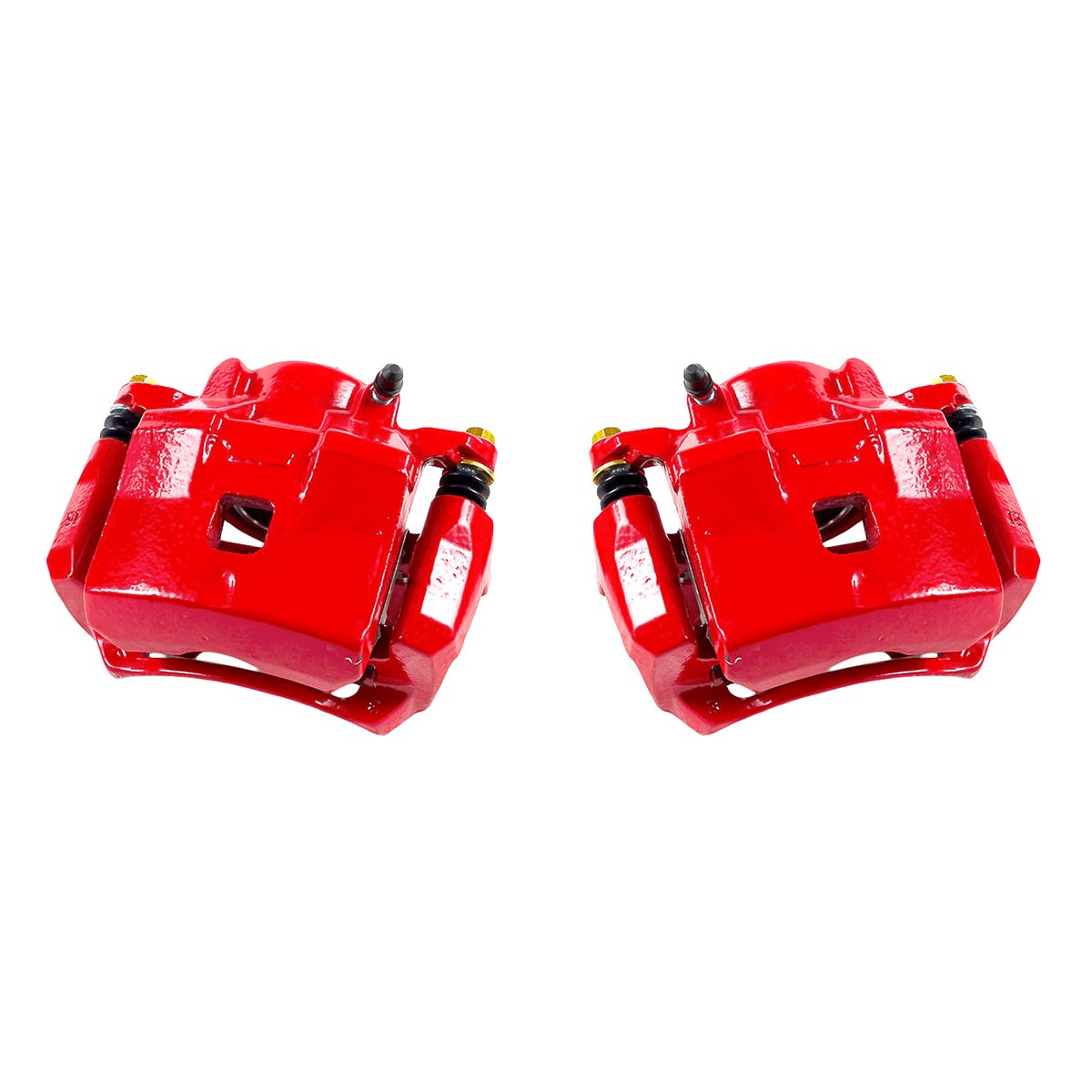 FRONT Performance Grade Red Powder Coated Semi-Loaded Caliper Assembly Pair Set 2 CK00985
