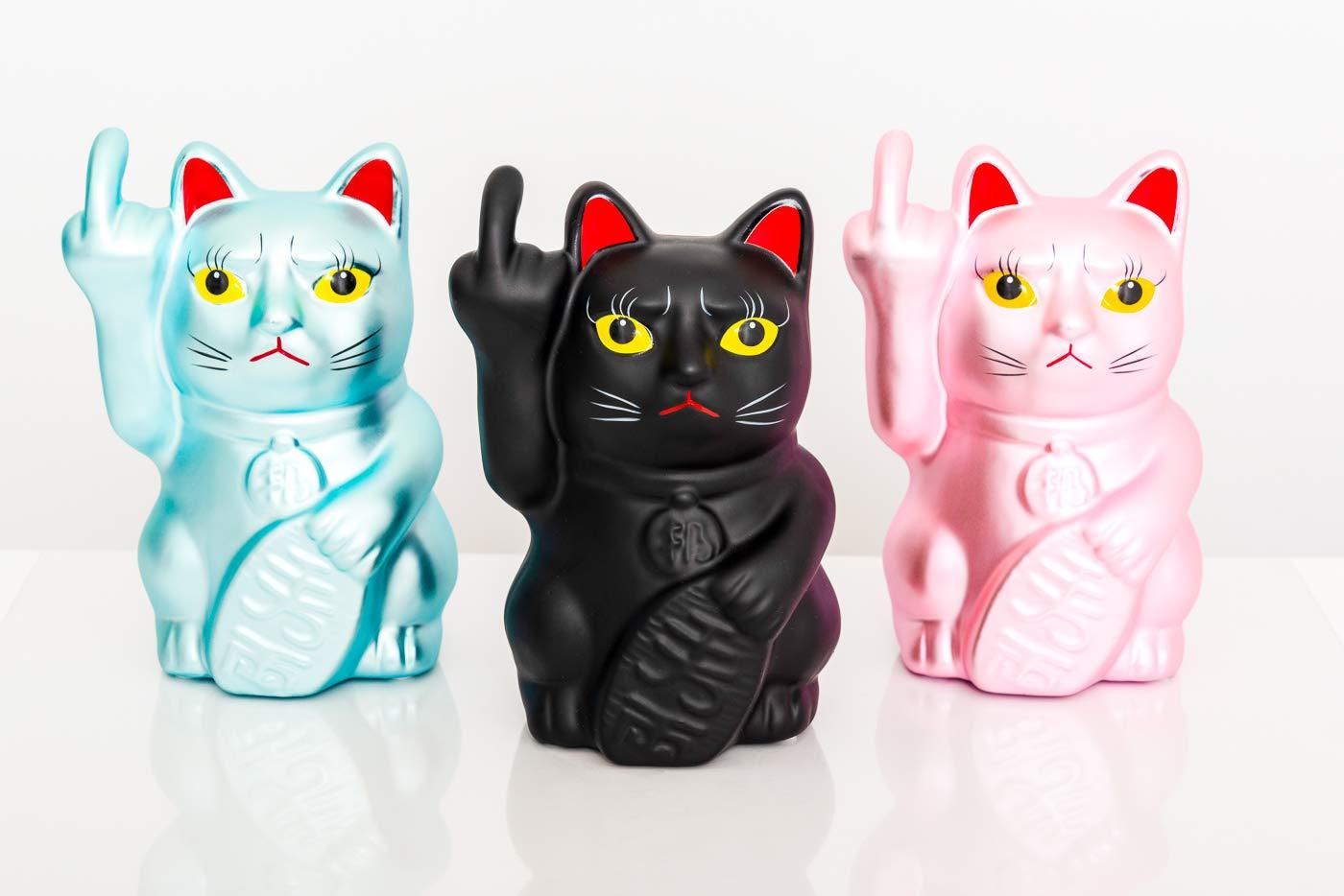 zhaocai art/ículos de decoraci/ón de cer/ámica para Oficina para los Amantes del winkek de Boxeo /de Lucky Cat sal/ón Fluffy Dreams/ 16/cm Tama/ño Aprox se Angry Cat Dormitorio Color: Negro