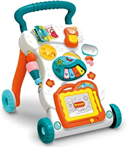 GMAXT Sit-to-Stand Learning Walker,Educational Push Toys for Babies,Lighting and Music, Artboard,Baby Music Toys Set-Kids Educational Game