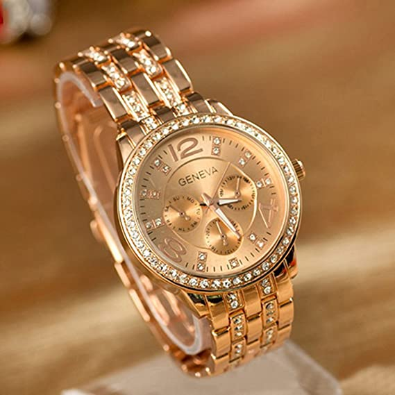 719911ee590 Image Unavailable. Image not available for. Color  Geneva Luxury Rose Gold  Classic Round Crystal Ladies Watch