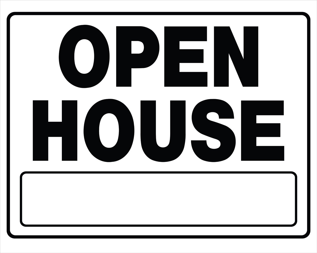 The Hillman Group 840062 20 x 24-Inch Black & White Corrugated Open House Plastic Sign