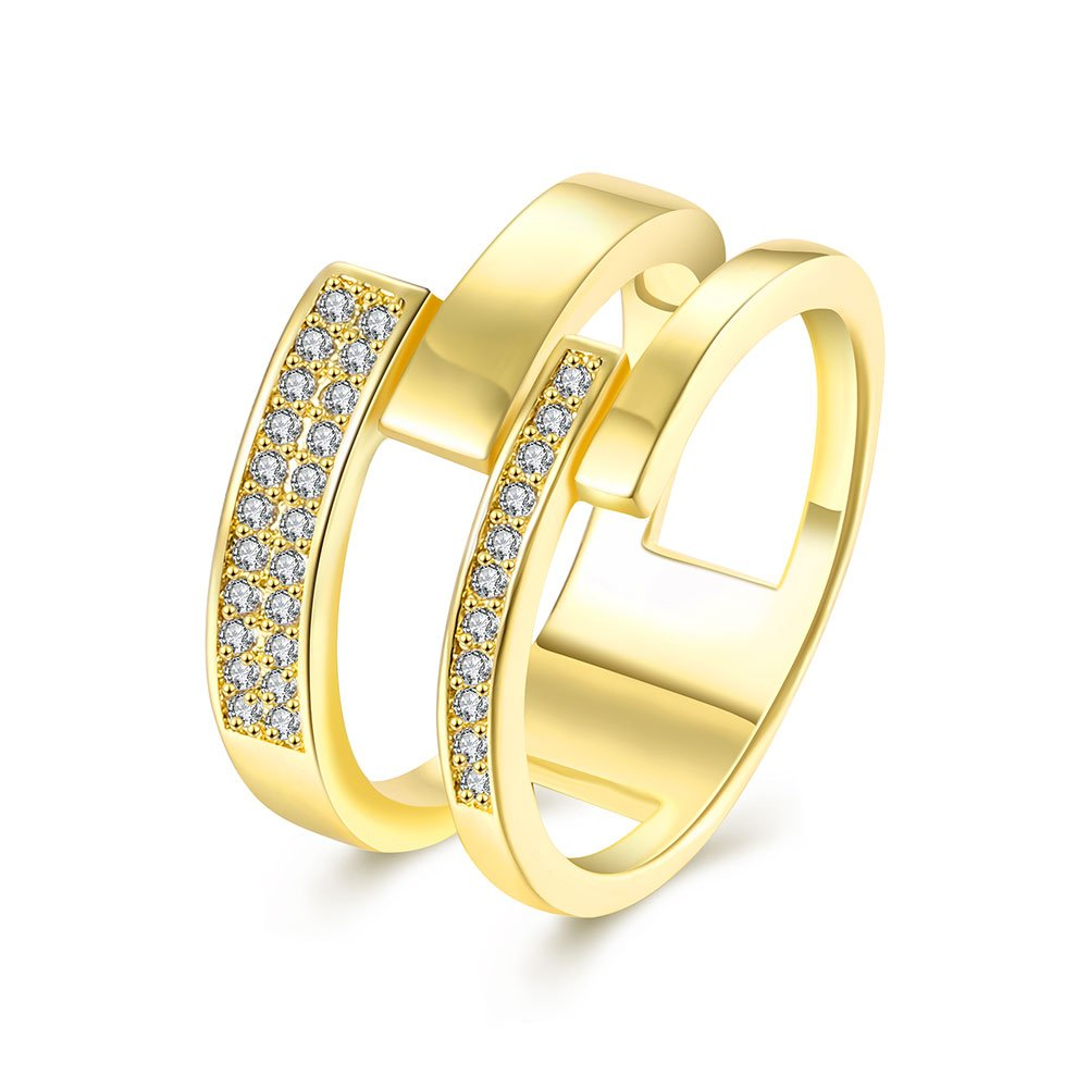 Cross Crystal Finger Promise Ring Valentine's Day Gift For Men Women 18ct Gold Plated