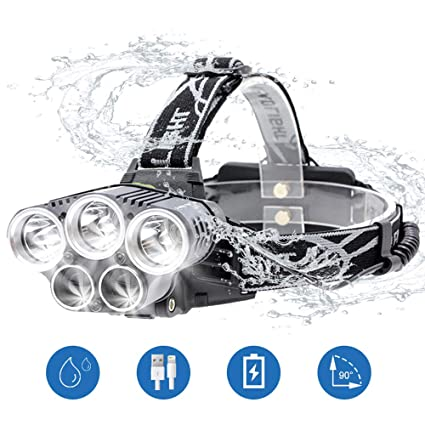 Head Torch,Super Bright LED Headlamp 15000 Lumens USB Rechargeable Led Head Torch with 6 Modes 90 Degree Adjustable Waterproof for Fishing Camping Running Cycling Hiking
