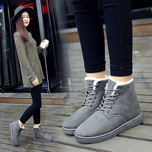 BomKin Platform Boots Snow Warm Sneakers Womens Lace Gray Cotton Up Suede Flat Winter TAgSqZT
