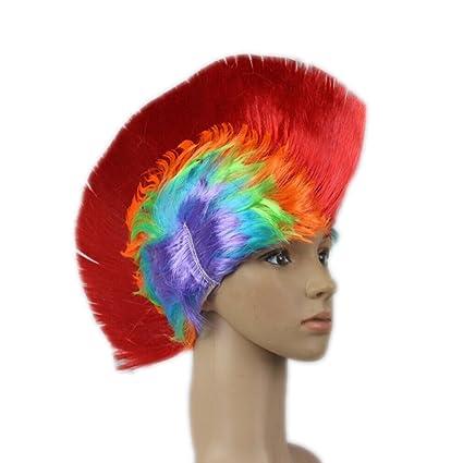 ULTNICE Luz del LED para arriba peluca Mohawk, mohicano de Halloween pelucas