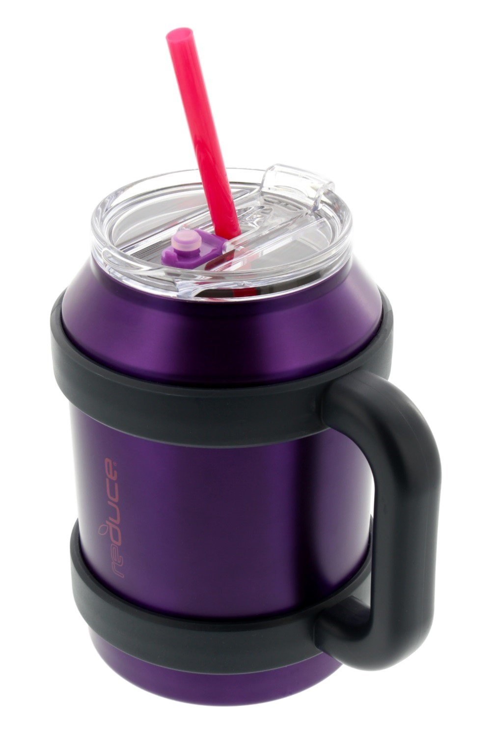 Stainless Steel Large 50oz Cold-1 Thermal Coffee & Water Mug by REDUCE - Dual Wall Vacuum Insulated Mug - Perfect for Hot & Cold Drinks - Includes Straw, Leak-Proof Lid and Handle, Purple w/Pink