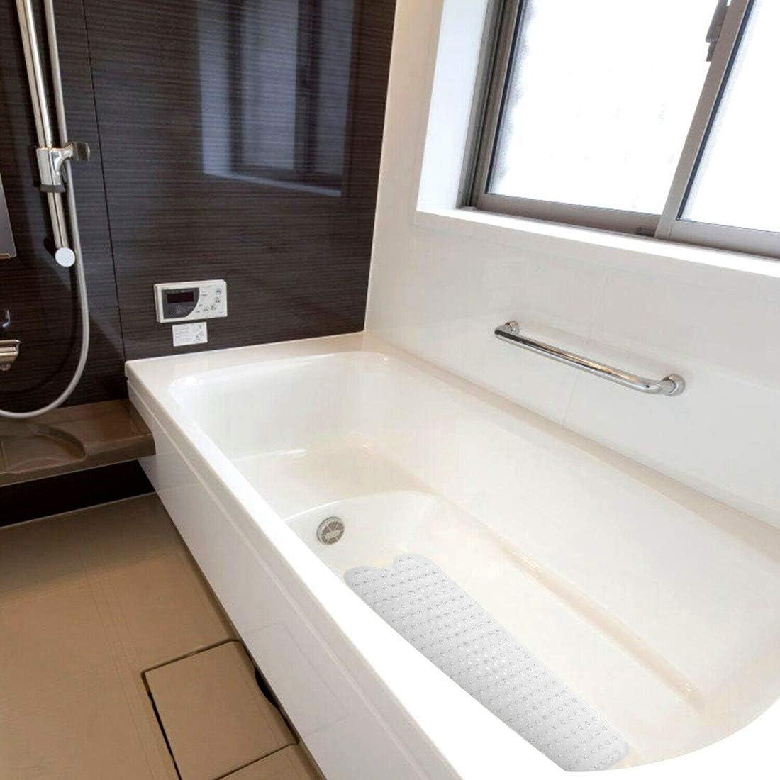Bathtub Mat Non Slip Bathroom Shower Mat Antibacterial Machine Washable Safety Anti Slip Bath Mat with Suction Cups for Kids Elderly White