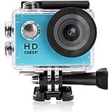 Yuntab ® A9 Caméra de Sport action caméra étanche Full HD 720p (Peut être Renouvelé à 1080p) H.264 avec Caméscope HD Vidéo de 5 Mégapixels Action caméra avec grand angle 120 degrés et accessoires avec boitier étanche et adaptateur(A9, Bleu)