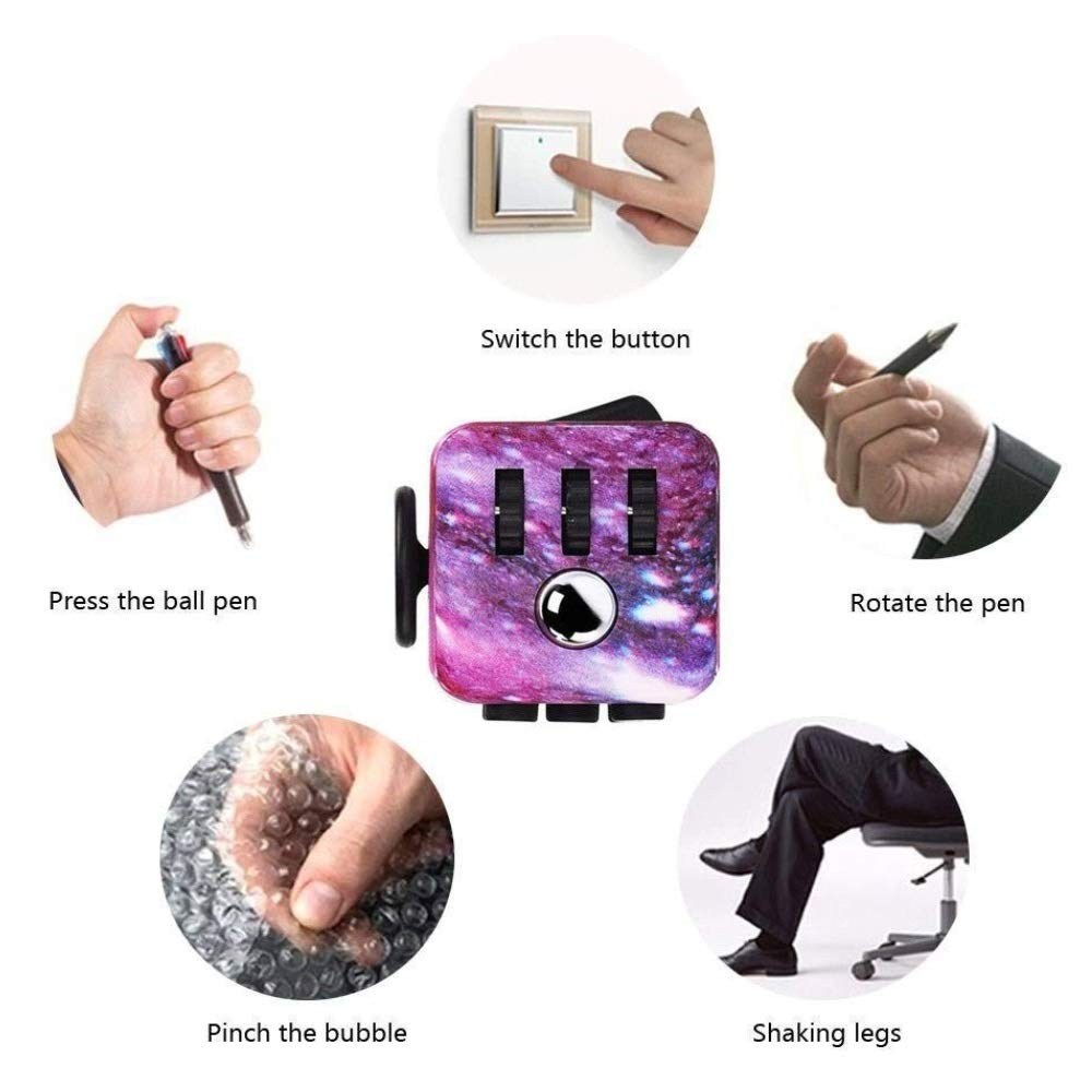 XUE Fidget Cube Sky Sensory Toys Sensory Toys Stress Relieve Toys Jouet Anti-anxi/ét/é for Enfants Et Adultes Violet