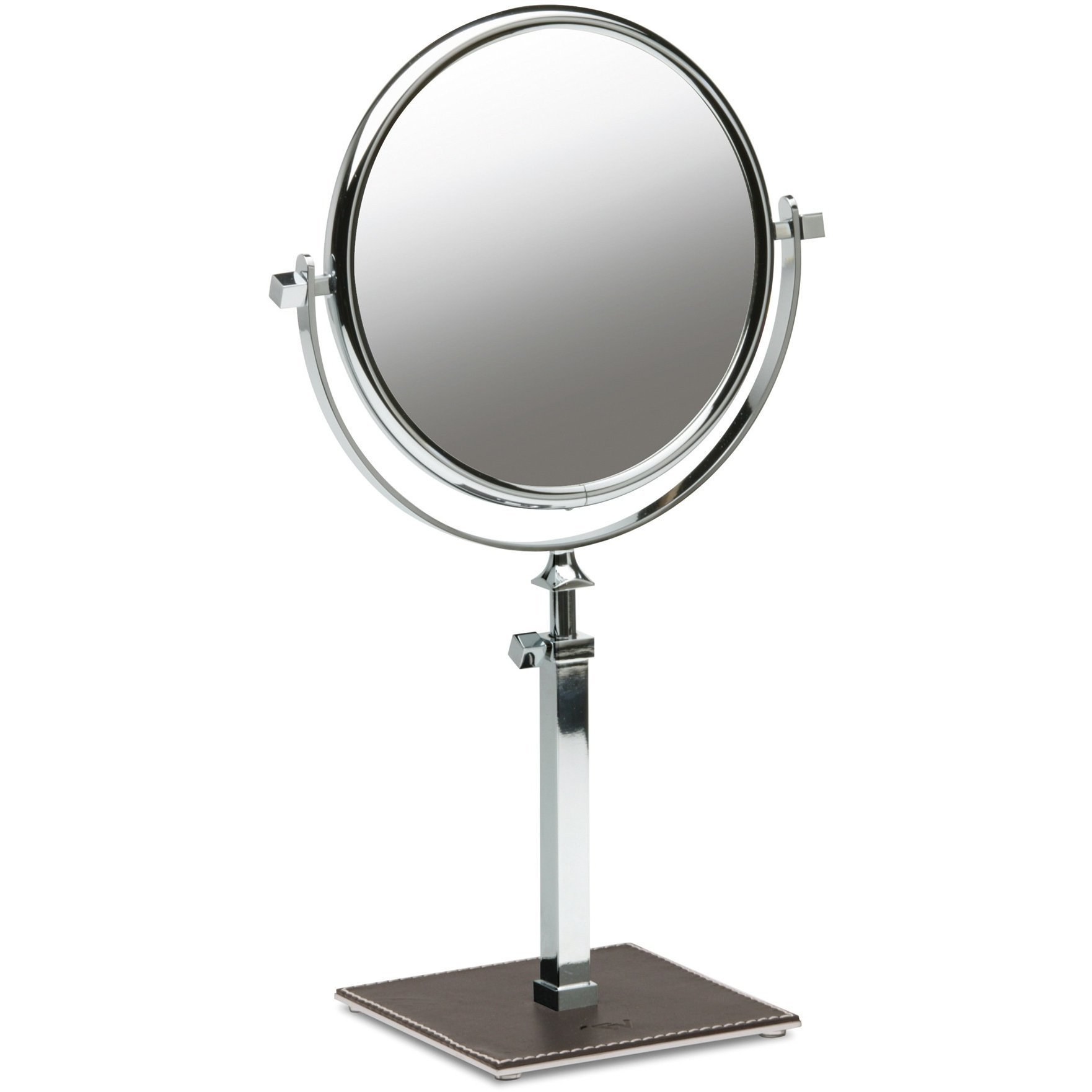 Box Kenia Table Dual Sided Cosmetic Makeup Magnifying Mirror Extendable, Leather (Brown, 5X Magnification)
