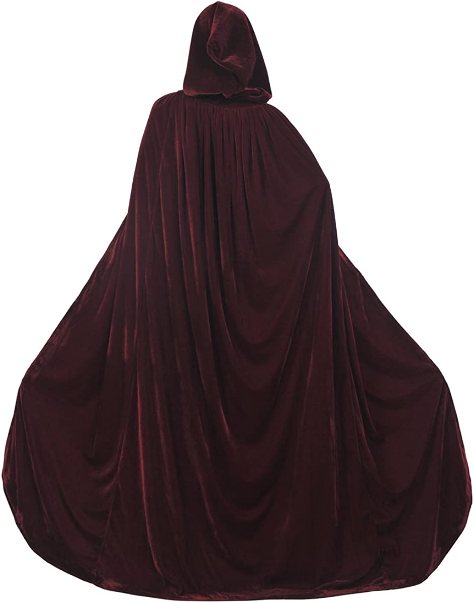 AW BRIDAL Adult Hooded Cloak Velvet Robe Cape for Halloween Cosplay Christmas Costumes Unisex