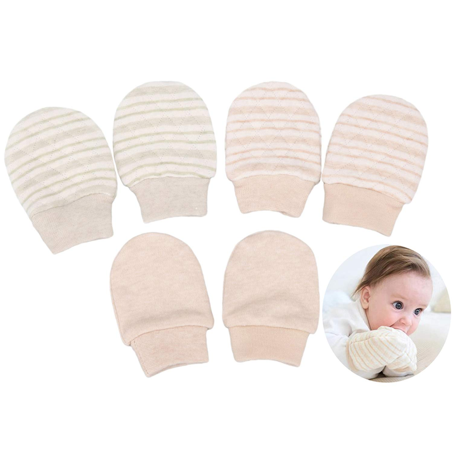 Folamer Newborn Mittens Cotton No Scratch Gloves Socks for 0-6 Months Baby 0-6months Newborn Infant Toddler 100% Cotton No Scratch Mittens shoes More Soft and Thick WRC2-C
