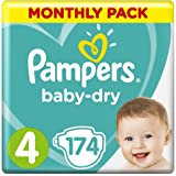 Pampers Baby-Dry Nappies Size 4 Toddler, 174 Nappies, 9-14kg, Monthly Pack