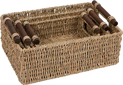 Trademark Innovations Seagrass & Wood Handled Nesting Baskets by (Set of 3) by Trademark Innovations (Image #2)