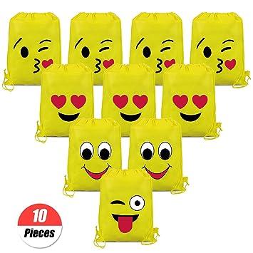 YuChiSX Emoji Bolsas de Cuerdas,10 Piezas Bolsa de Gimnasio Emoji,Emoji Mochilas Petates Infantiles para niños y niñas Cumpleaños Regalos Invitados de ...