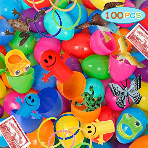 Assorted Toy Filled Easter eggs, Prepackaged easter eggs with assorted Toys, Figures, and Animals for an Easter egg hunt (Pack of 100)
