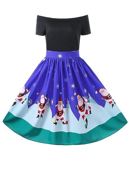 Xmas Dress Women Christmas Off The Shoulder Swing Dress Vintage Elegant Party Robe Female Cute Vestidos