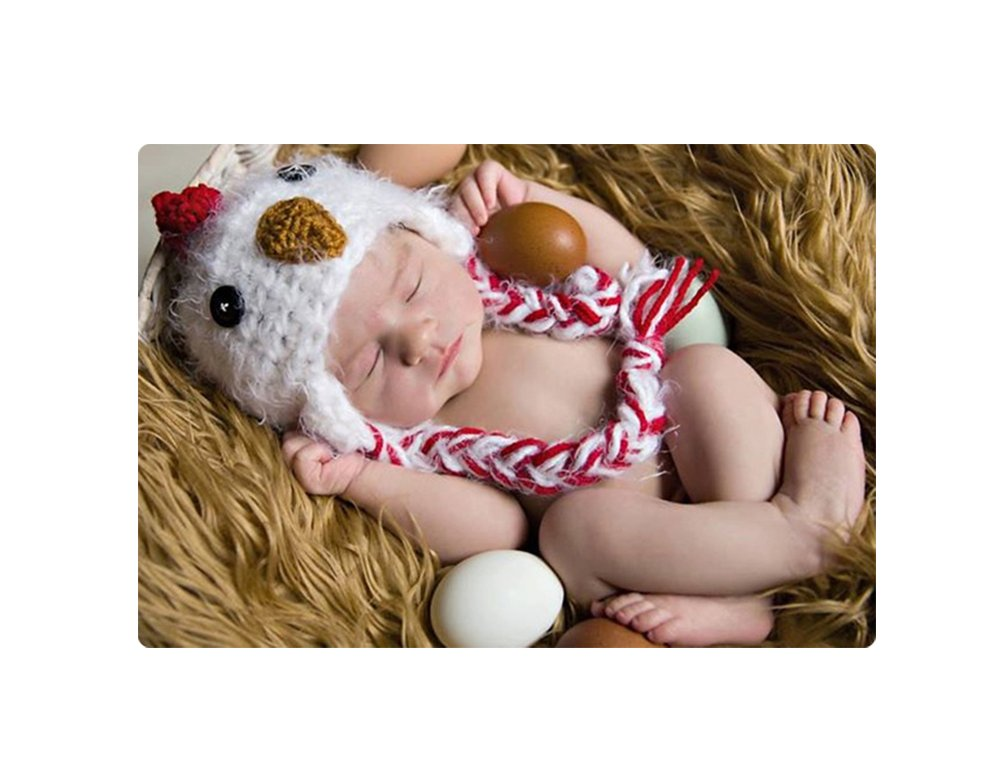 Baby Box Newborn Baby Handmade Knitted White Chicken Hat Cap for Photography Props