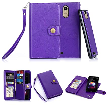 uk availability a45bc 3d364 LG K30 Case, LG Xpression Plus/Premier Pro/Phoenix Plus /K10 2018 /Harmony  2 Case, 10 Card Slot - ID Slot, Button Wallet Folio PU Leather Case Cover  ...