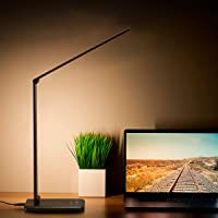 LED Desk Lamp Eye-Caring Table Lamps Dimmable Office Lamp with USB Charging Port 5 Lighting Modes with 7 Brightness…