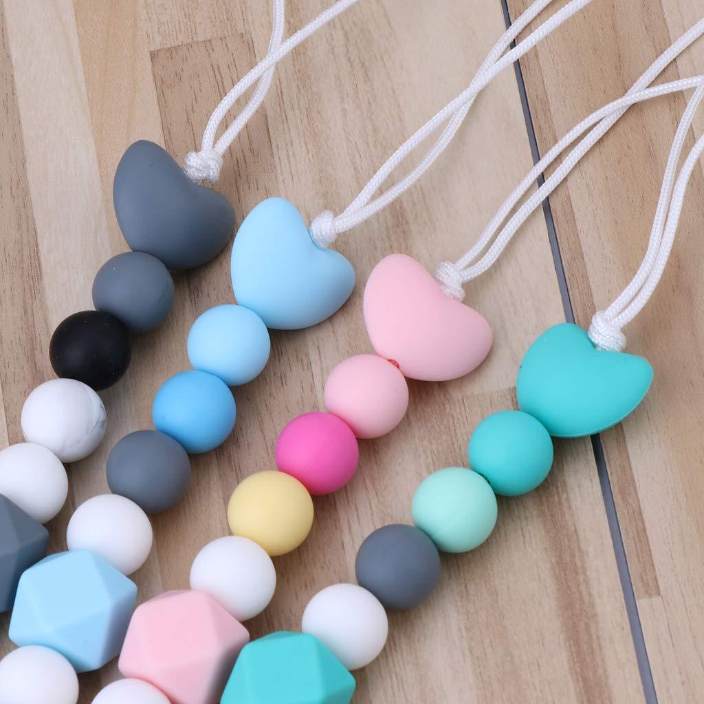 Perlas de silicona de grado alimenticio(Azul) MIsha Cadena chupetes silicona personalizado Beb/é mordedor