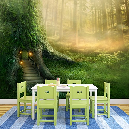 Magical Tree House In Enchanted Forest Fantasy Wall Mural kids Photo Wallpaper available in 8 Sizes Gigantic -