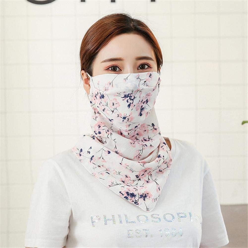 sanguiner Sunscreen Face Scarf,UV Protection Dustproof Chiffon Printed Silk Scarf Scarf Sunscreen Mask Shawl Mask Outdoor Riding Mask