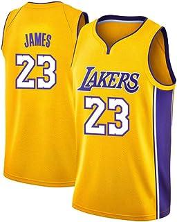 ZQ Lakers Lebron James # 23 Jersey - Set Senza Maniche Classico, Jersey di Los Angeles # 24, Basketball for Men e T-Shirt con Unisex T-Shirt con Cucitura a Mano Numeri Numeri Gialli-S