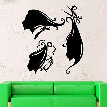 guijiumai Vinilo Tatuajes de Pared Peine Tijeras Spray Hair Salon ...