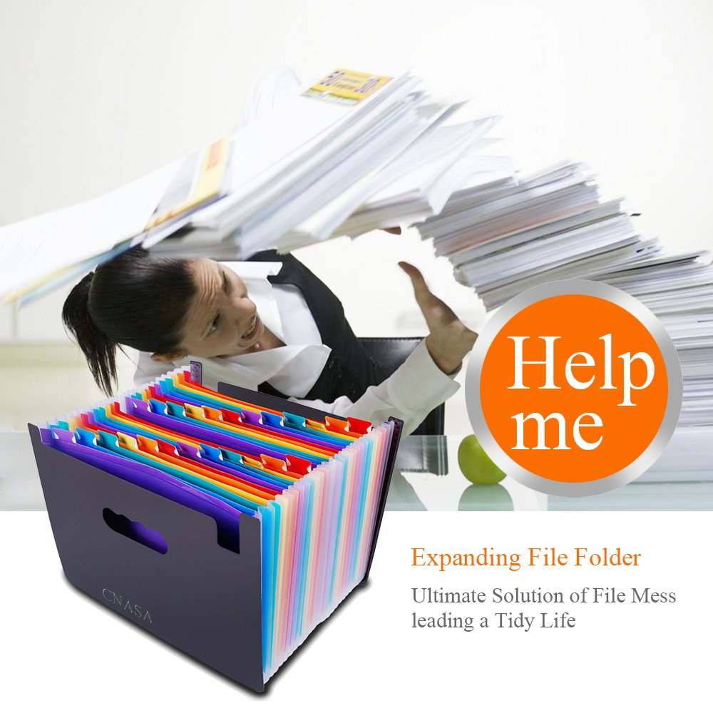 Expanding File Folder 24 Pockets, CNASA Portable Accordion A4 Document Folder Expandable File Organizer High Capacity Plastic Business File Folder Bag, Rainbow