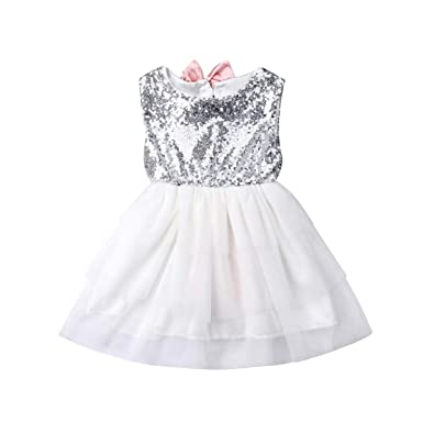 b312e7d3f0dd Amazon.com  Muasaaluxi Toddler Kid Baby Girls Sequins Sleeveless Princess  Party Tutu Dress Sundress with Bowknot Summer Outfit 1-5Y  Clothing