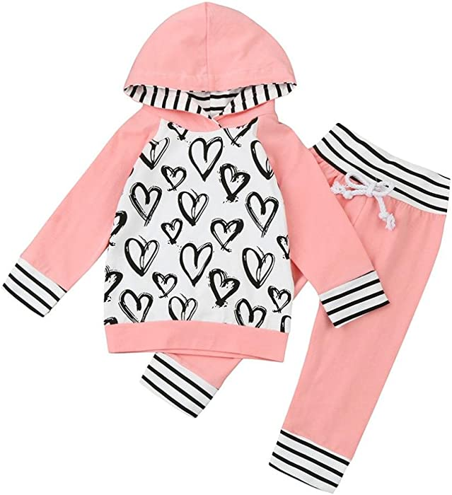 1f2cdce7e Amazon.com  Toddler Infant 2pcs Hooded Outfit Baby Girl Heart Print ...