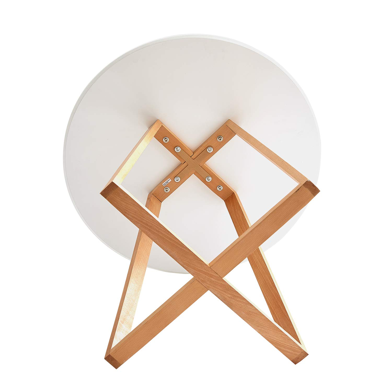 LiePu Small Round Dining Table Scandinavian Wooden Kitchen Table with Cross Beech Legs for Dining Living Room Office 80 x 80 x 75 cm White