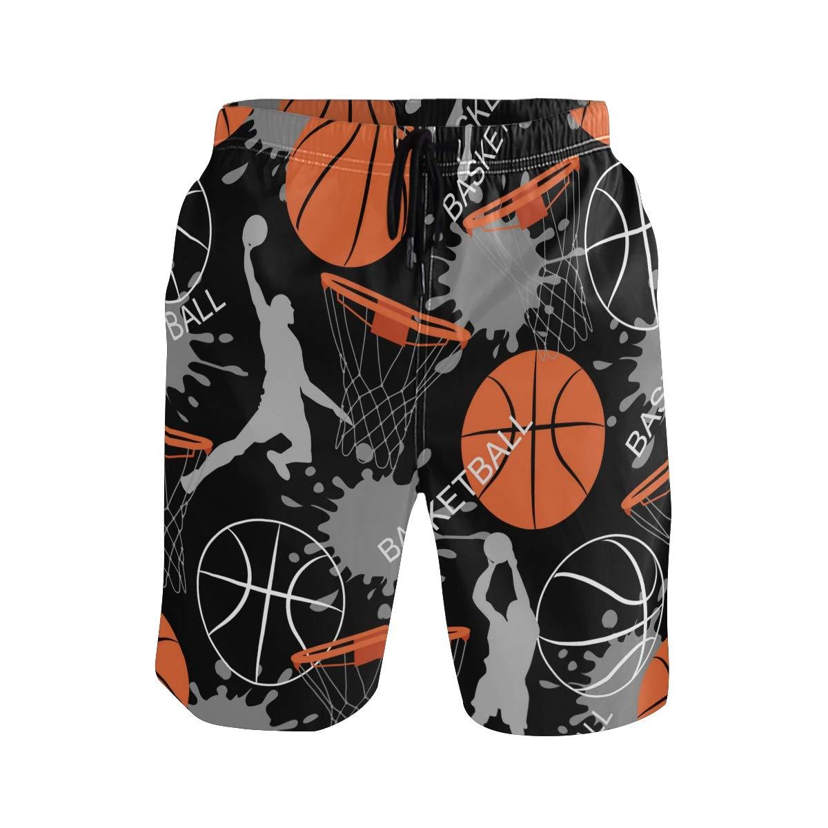 KUWT Mens Swim Trunks Sport Man Basketball Quick Dry Beach Shorts Summer Surf Board Shorts