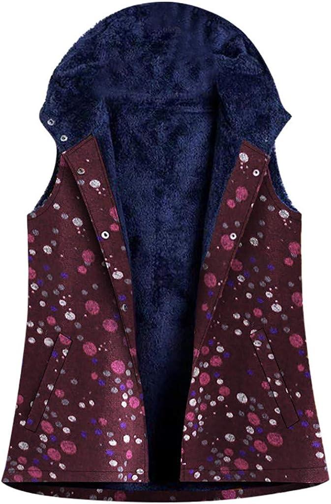 TWIFER Women Lightweight Gilet Floral Print Vest Sleeveless Fleece Lining Jacket Gilet with Pockets Plus Size Winter Warm Floral Print Vintage Hooded Coat