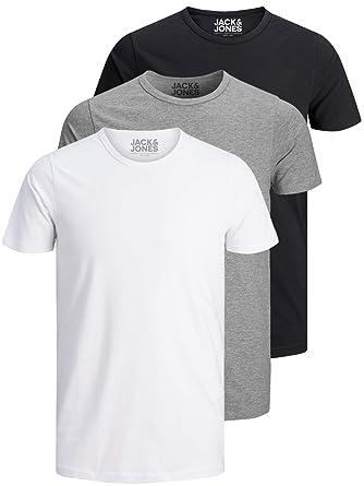 half off 97de1 6a08f Jack and Jones 3er Pack Herren T-Shirt Basic V-Ausschnitt Oder Rundhals  Einfarbig Slim Fit In Weiß Schwarz Blau Grau