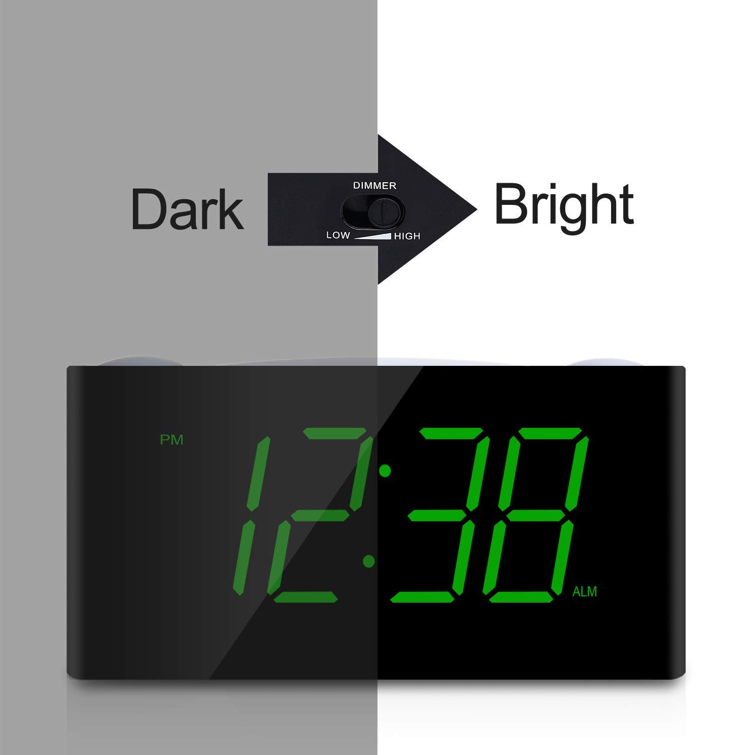 Digital Alarm Clock - Raynic Desk Clock with Loud Alarm, Large Numbers, Snooze, Dual USB Charging Ports, Brightness Dimmer, 12/24 Hours, Nightlight for Bedrooms, Kids, Heavy Sleepers, Home, Green