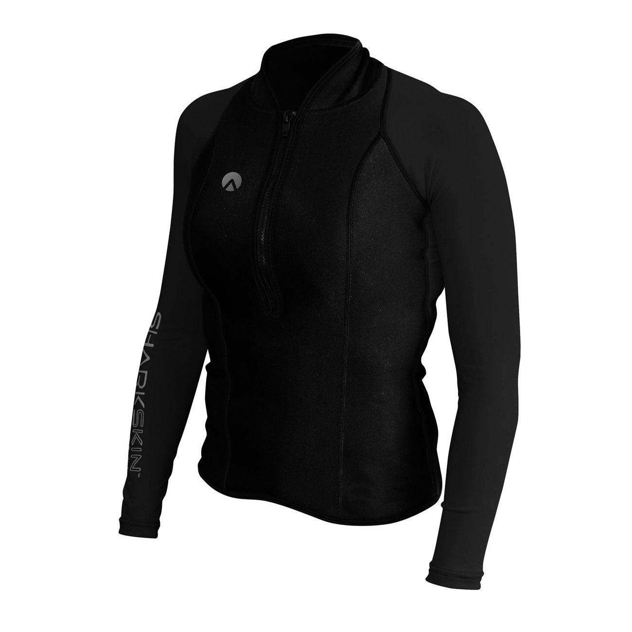 Sharkskin Women's Chillproof Performance Wear Longsleeve Shirt Rash Guard Scuba Water Sports Diving Snorkeling (Black, 0)